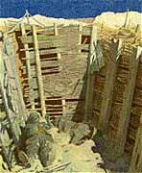 Trincheira: pedaço do inferno escavado pelo homem (tela de William Orpen, 1918)
