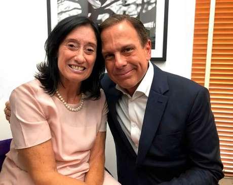Doria ve a futura secretária da Pessoa com Deficiência em São Paulo, Célia Leão (PSDB), durante o período de campanha nas eleições 2018