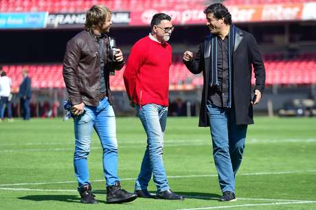 O uruguaio Diego Lugano (esquerda), superintendente de relações institucionais; Ricardo Rocha, supervisor de futebol; e Raí, diretor de futebol do São Paulo