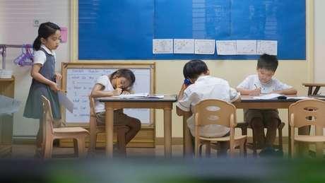 A maior parte dos alunos, mesmo os mais jovens, de quatro anos, frequentam cursinhos