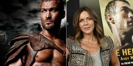 O ator em Spartacus, e sua mulher, Vashti, diante do cartaz do documentário
