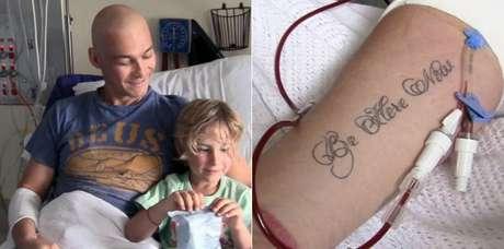 Andy com o filho Jesse durante uma internação, e a tatuagem com a mensagem que dá título ao documentário