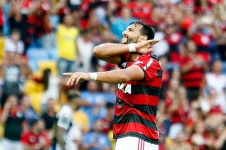 Dourado comemora gol do Flamengo contra o Santos