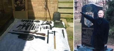 Coleção de armas de Vehvilainen - e uma foto dele fazendo a saudação nazista