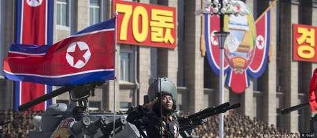 Bandeira da Coreia do Norte é exibida durante um desfile militar em Pyongyang
