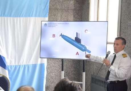 Integrante da Marinha da Argentina mostra os três pontos onde foram feitas as fotografias: (a) proa, (b) hélice, (c) popa