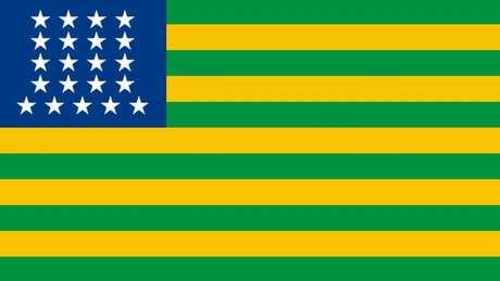 Primeira bandeira republicana do Brasil, com faixas em verde e amarelo, e estrelas