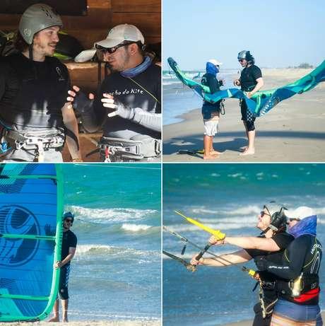 O ator recebeu instruções a fim de aproveitar os ventos perfeitos da região da Praia do Preá para praticar o kitesurf