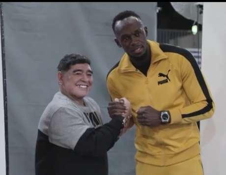 Bolt e Maradona se conhecem de eventos publicitários (Foto: Reprodução)