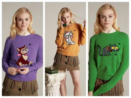 Os suéteres da coleção da Miu Miu com Dinah, de 'Alice no País das Maravilhas', Marie, de 'Aristogatas' e Snowball Segundo, de 'Os Simpsons'