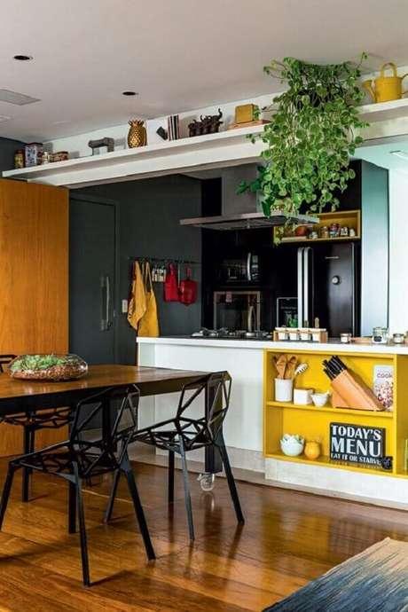 6- As plantas para cozinha pendentes devem ser colocadas no alto sobre prateleira. Fonte: Somos Verde