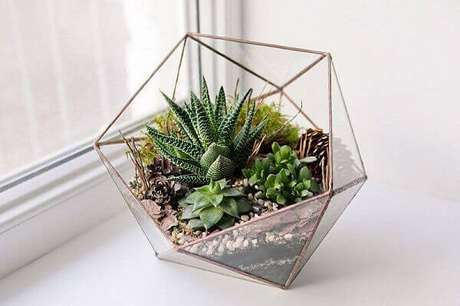 46- Os arranjos com suculentas são plantas para dentro de casa que dispensam muita manutenção. Fonte: Pinterest