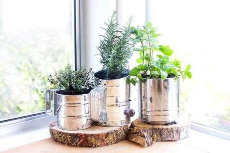 7- As plantas para cozinha podem ser cultivas em utensílios ou latas de alimentos. Fonte: Portal do Arrendamento- Uniplaces