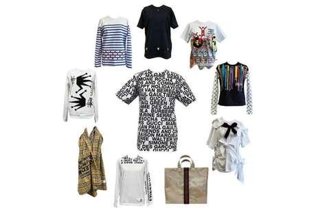 A coleção também conta com uma camiseta branca com os nomes das marcas