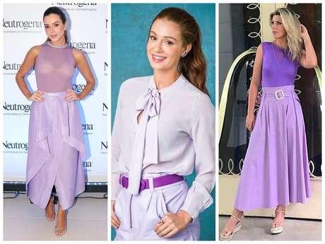Famosas vestem cor lavanda (Fotos: AgNews - TV Globo/Divulgação - Instagram/Reprodução)
