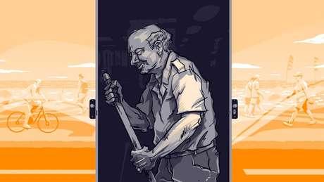 Ilustração mostra homem varrendo em meio a paisagem da orla carioca