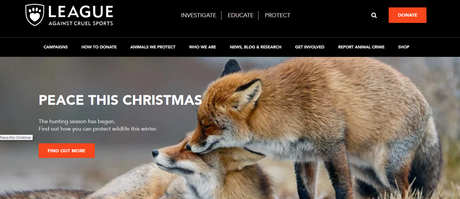 Casamitjana está processando seu antigo empregador, uma ONG pró-direitos dos animais. Na imagem, o site da Liga faz campanha contra a caça de raposas