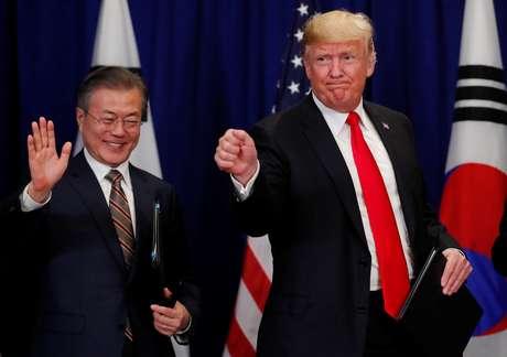 Presidente dos EUA, Donald Trump, e presidente da Coreia do Sul, Moon Jae-in 24/09/2018 REUTERS/Carlos Barria