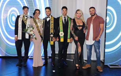 O Mister SP 2017 Andrio Frazon, a nova Miss SP Mariana Marçal, o novo Mister SP Daniel Gomes, o Mister Brasil 2016 Willian Herculano, a modelo e DJ Sabrina Boing Boing e o cantor Rodrigo Marim