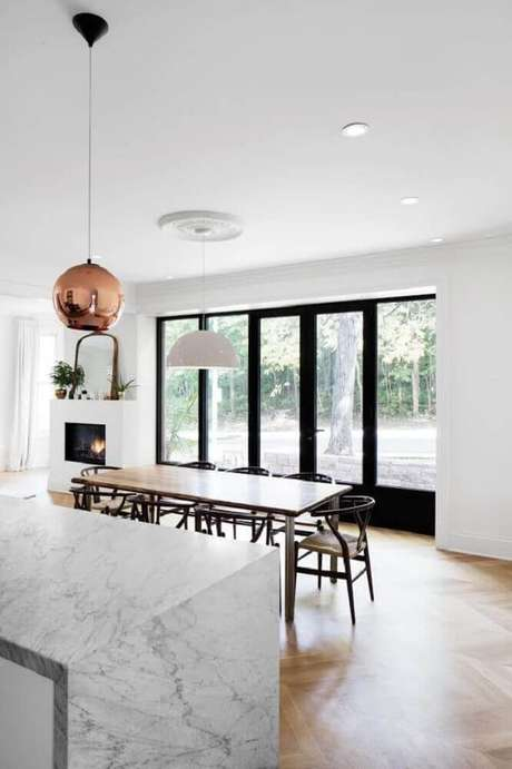 14. Decoração clean para cozinha com sala de jantar integrada – Foto: Pinterest