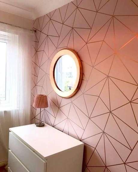 6. Decoração com papel de parede rose gold – Foto: Types of Wallpaper