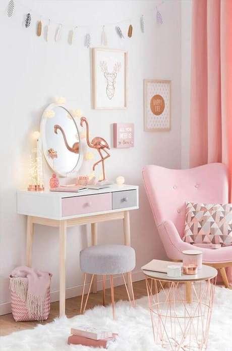 32. Decoração para quarto rose gold – Foto: Home Design Ideas