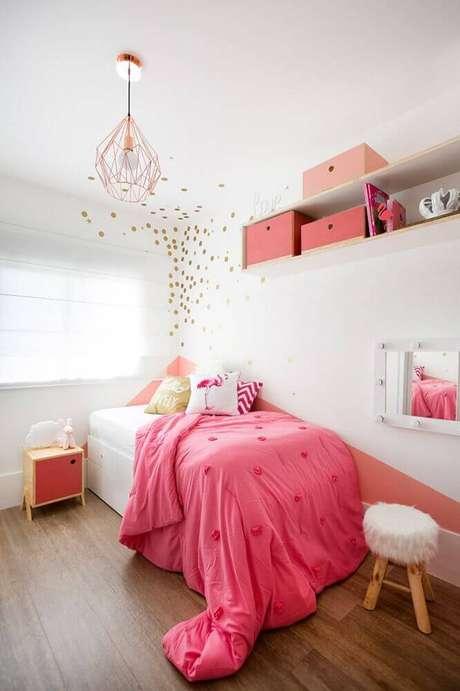 38. Decoração para quarto com pedente rose gold – Foto: Studio Elen Saravalli