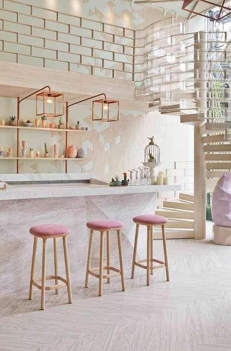 44. Decoração moderna e delicada para cozinha rose gold – Foto: We Heart It