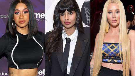 Jameela Jamil (centro) usou o Twitter para criticar celebridades como Cardi B (esquerda) e Iggy Azalea que estimulam fãs a fazerem dietas