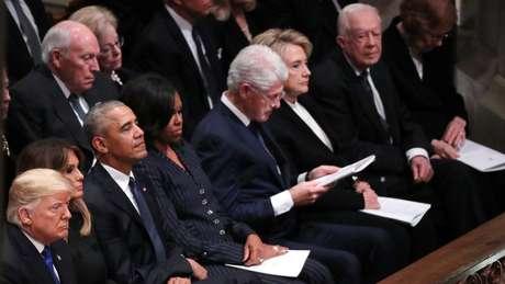 Da esquerda para a direita: os Trumps, os Obamas, os Clintons e os Carters