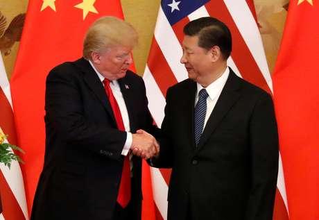 Presidente dos Estados Unidos, Donald Trump, e presidente da China, Xi Jinping, em Pequim 09/11/2017 REUTERS/Jonathan Ernst