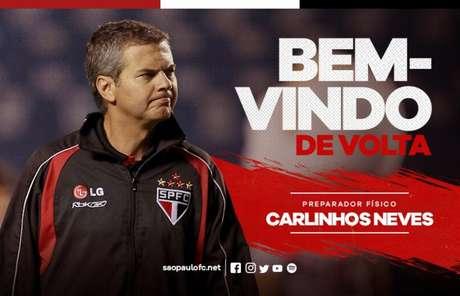 Carlinhos Neves chega para sua terceira passagem no clube do Morumbi (Reprodução)