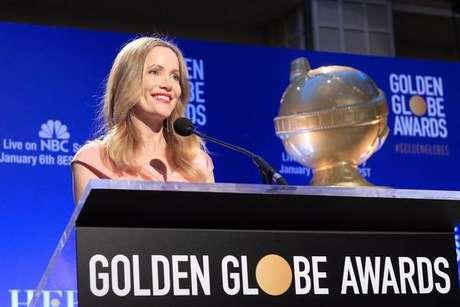 Atriz Leslie Mann no anúncio dos indicados ao Globo de Ouro