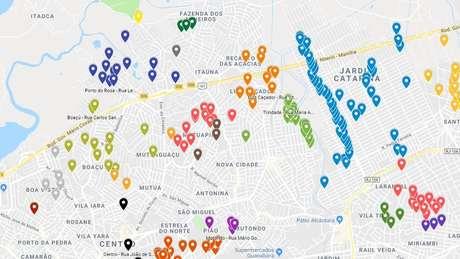 Mapeamento colaborativo do 'Tem Barricada Aí?', em dezembro de 2018; cada ponto representa uma barreira denunciada por colaboradores anônimos