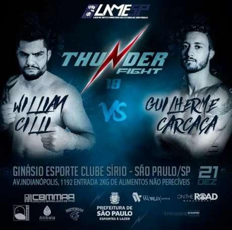 Confronto entre Willian Cilli e Guilherme Carcaça será uma das atrações do Thunder Fight 18 (Foto: Reprodução)