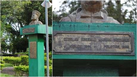 Monumento em homenagem a Ceslau Biezanko em Guarani das Missões; memória do polonês foi retomada com o boom da soja