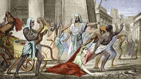 A morte de Hipatia de Alexandria, em uma ilustração em um livro do século 19