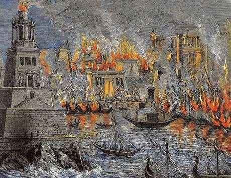 A biblioteca de Alexandria ardeu mais de uma vez, perdendo para sempre materiais que poderiam revelar mais sobre Hipatia