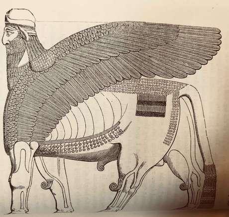 O lamassu tem o corpo de um touro, as asas de uma águia e a cabeça de um homem