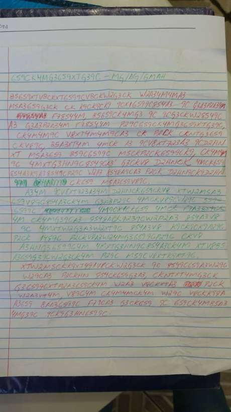 Carta apreendida com visitante da Penitenciária 2 de Presidente Venceslau, em São Paulo, escrita em código