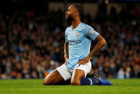 Raheem Sterling durante partida do Manchester City