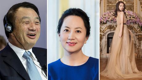 A maioria do clã da empresa Huawei tem se mantido às sombras, como o presidente da empresa Ren Zhengei e sua filha Meng Wanzhou (ao centro); sua outra filha, Annabel Yao, à direita, publica muitas fotos nas redes sociais