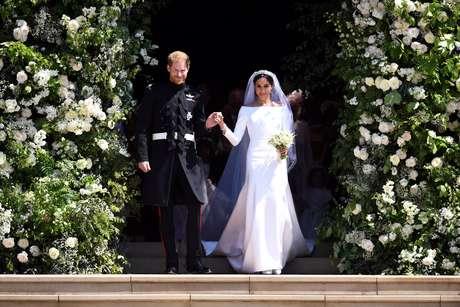 Príncipe Harry e Meghan Markle deixam a Abadia de St. George após seu casamento, em Windsor, na Inglaterra