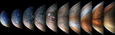 Imagens de Júpiter foram baixadas e processadas, revelando novos detalhes da superfície do planeta.