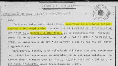 O documento que menciona o pai de Lars e Torben Grael, Dickson Melges, como 'indisciplinado'