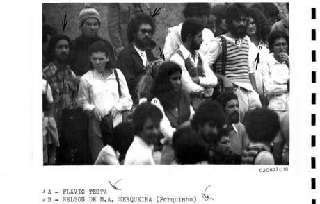 Antônio Flávio Testa (com a letra 'A' sobre si) identificado em foto da ASI-UnB, durante manifestação