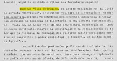 Os artigos de Vélez sobre a Teologia da Libertação eram lidos pelo SNI, e citados em