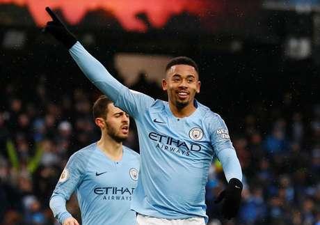 Gabriel Jesus comemora o segundo gol na partida