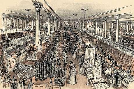 Ilustração de uma das lojas de departamento de Stewart, com quem Lipton aprendeu estratégias de venda