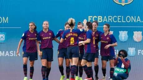 Andressa Alves (à esquerda) atuou em vitória do Barcelona na Liga Iberdrola (Foto: Divulgação/Liga Iberdrola)